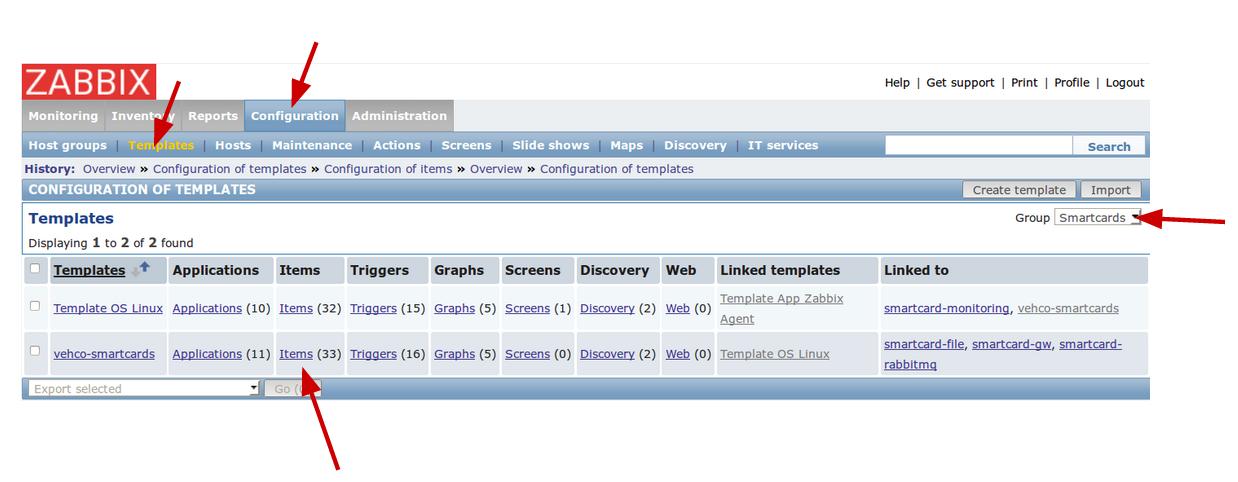 Zabbix server - add items to an application - Guillaume